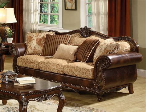 leather and fabric sofa remington traditional bonded leather and fabric sofa