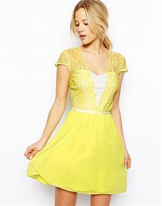 lyst asos scallop edge skater dress in yellow With robe jaune fluo