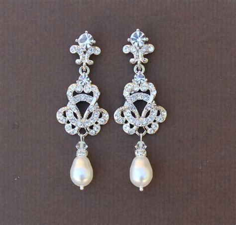 pearl bridal chandelier earrings deco bridal jewelry