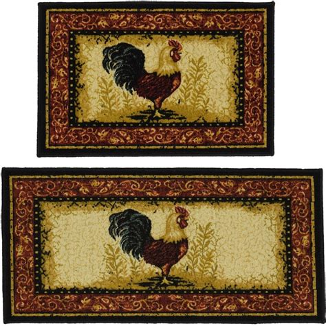 country kitchen rugs rooster kitchen mat set 2 floor rug non skid sink 3624