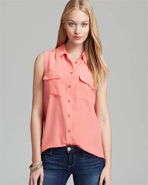 pink blouses equipment blouse sleeveless slim signature in pink coral