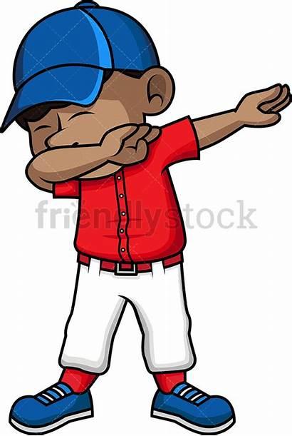 Boy Kid Baseball Clipart African Dabbing Cartoon