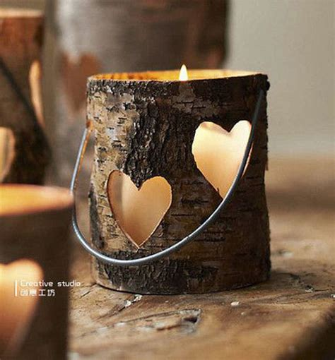 easy diy wood candle holders   rustic warmth