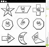 Parallelogram Coloring Shapes Geometric Basic Cartoon Funny Characters sketch template