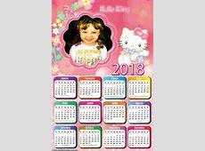 Calendário 2018 Hello Kitty Infantil Montagem para Fotos