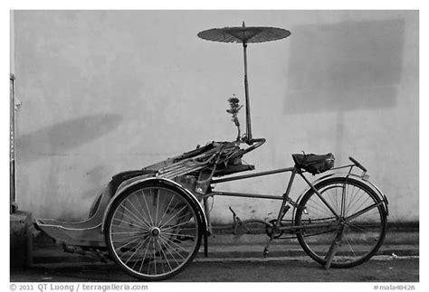 black  white picturephoto trishaw george town