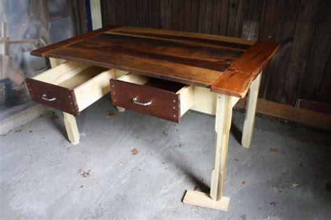 custom reclaimed wood kitchen table  honeybadger