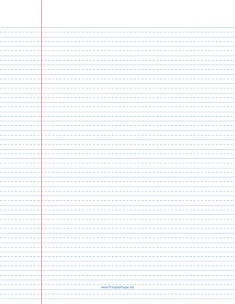 printable lined paper wide ruled  dashed center guide