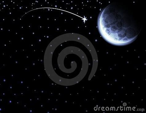 moon shooting star night sky stock image image