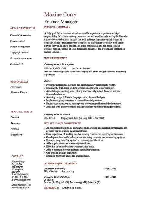 Resume Sle Editable by Finance Manager Resume Cv Exle Sle Templates