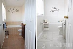How to transform an ugly bathroom with diy tile painting for Painting shower tiles bathroom