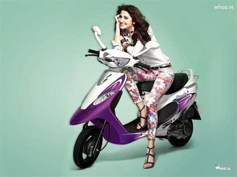 anushka sharma glamorous   purple tvs scooty pep