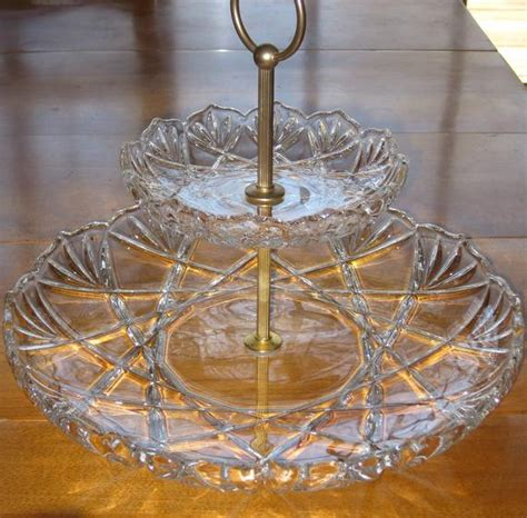 vintage  tier glass serving tray crystal walther glas germany