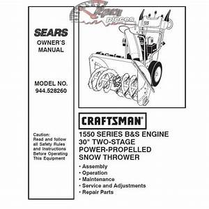 Craftsman Snowblower Parts Manual 944 528260