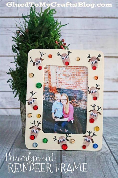 thumbprint reindeer frame christmas crafts  kids