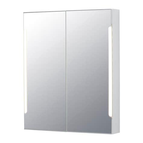 storjorm mirror cabinet w 2 doors light 31 1 2x5 1