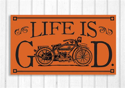 Antique Harley Davidson Motorcycle Wood Sign Life Is Good