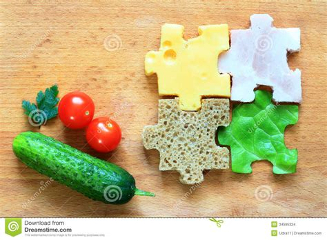 puzzle cuisine food puzzle ingredients diet creative concept stock photo