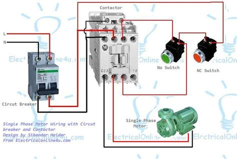 the complete guide of single phase motor wiring with circuit breaker and contactor diagram