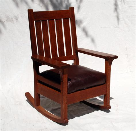 voorhees craftsman mission oak furniture early gustav stickley rocking chair original finish