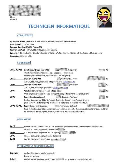 Cv Pour Stage by Comment Faire Un Cv Pour Un Stage De Seconde