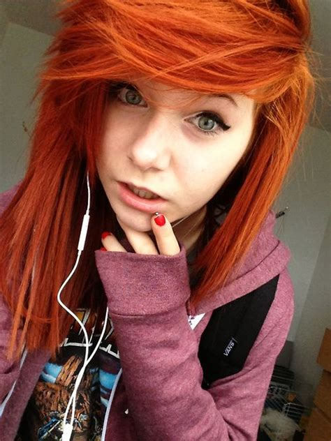 2015 red long emo hairstyle for girls with thick bangs
