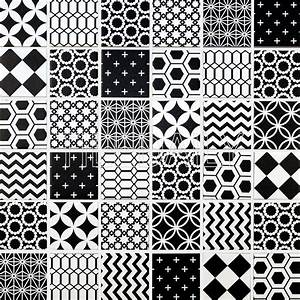 Geometric Pattern Mosaic Tile, Black And White – tiledaily
