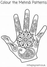 Coloring Henna Hand Pages Mehndi Colouring Printable Patterns Drawing Designs Intheplayroom Hands Template Diwali Elephant Handprints Crafts India Blank Craft sketch template