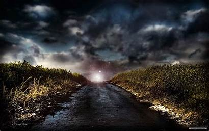 Stormy Sky Road Dark Night Landscape Skies