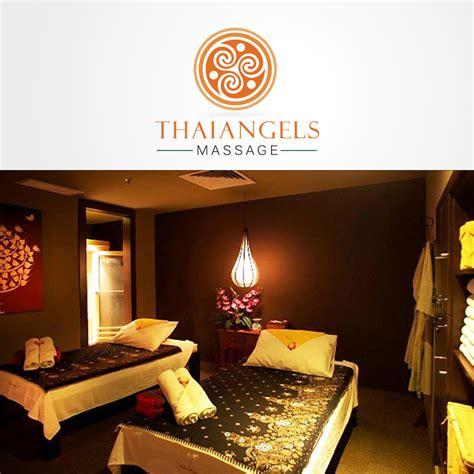 playful modern massage therapy logo design