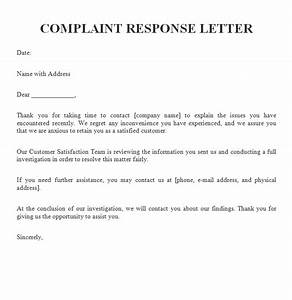 complaint response letter free sample letters With replying to a complaint letter template