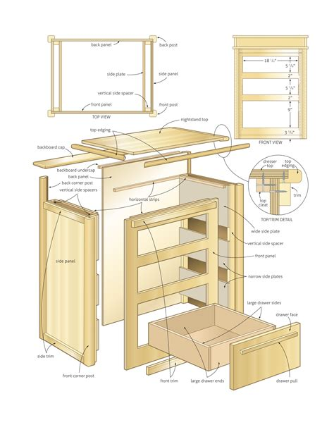 nightstand with storage woodworking plans woodshop plans