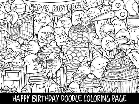 happy birthday doodle coloring page printable cutekawaii