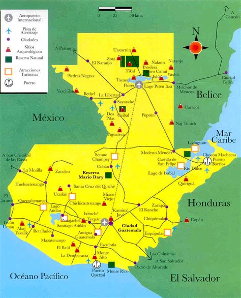 tourist map  guatemala full size