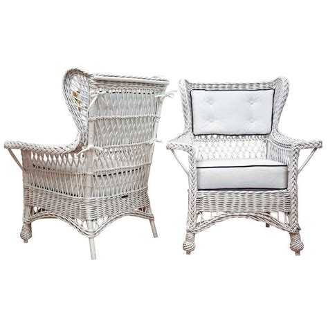 Heywood Wakefield Chairs Antique by Antique Heywood Wakefield Wicker Wing Back Chairs At 1stdibs