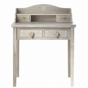 Bureau Secretaire Vintage : bureau secr taire en bois gris l 80 cm camille maisons ~ Teatrodelosmanantiales.com Idées de Décoration