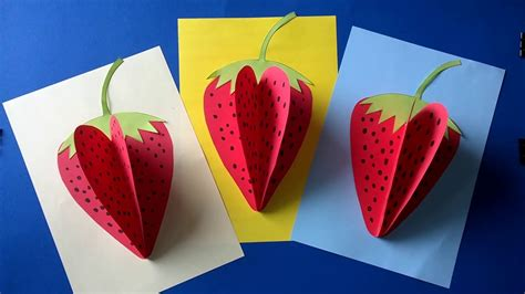 strawberry paper craft youtube