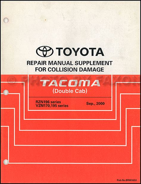 toyota tacoma body collision repair shop manual