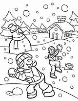 Coloring Snow Winter Funny Heavy Fights During sketch template