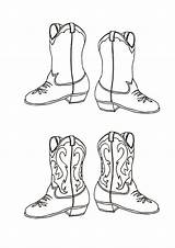 Cowboy Coloring Boot Pairs sketch template
