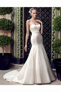 simple fitted trumpet mermaid strapless satin wedding With satin fitted wedding dress