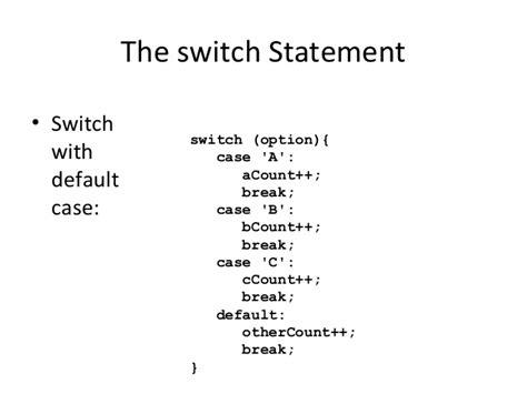 switch statements  java