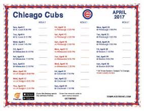 Printable Chicago Cubs Baseball Schedule 2017