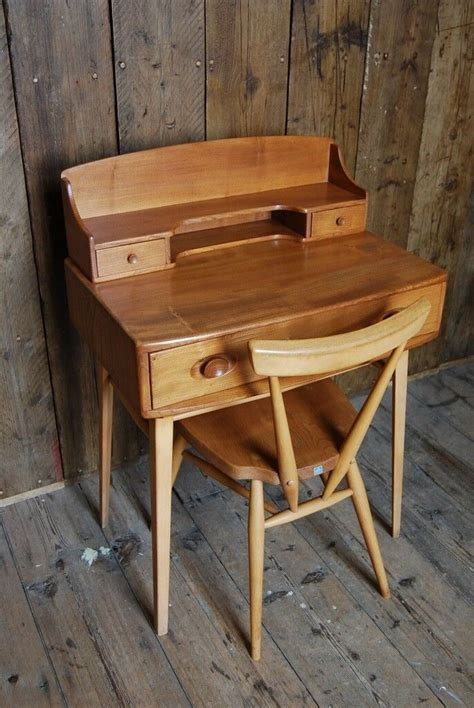 ercol desk natural  elm mid century modern vintage