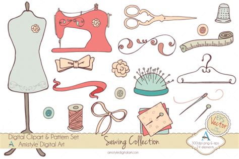 Magicforest Tree Sewing Set sewing collection clipart vector illustrations on