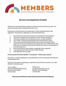 business lending members cooperative credit union With sba loan document checklist