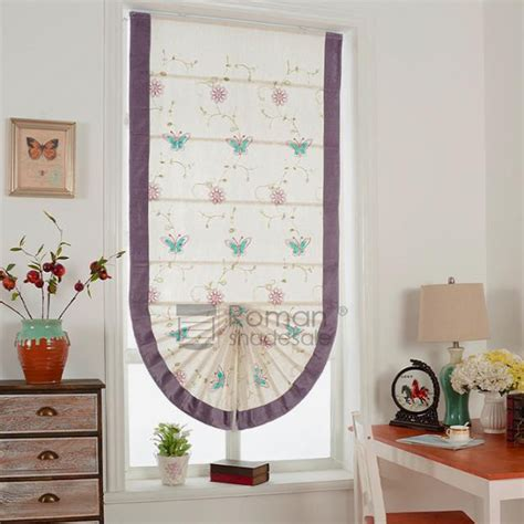 Chic Fan Shaped Butterfly Pattern Embroidery Roman Shade