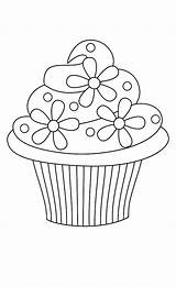 Cupcake Coloring Pages Cupcakes Simple Theme Printable Floral Netart Moon Rocks sketch template