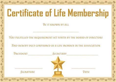 life membership certificate templates