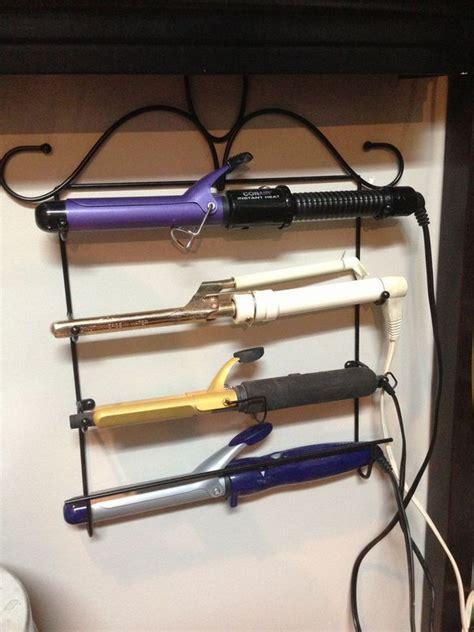 creative hair dryer  curling iron storage ideas